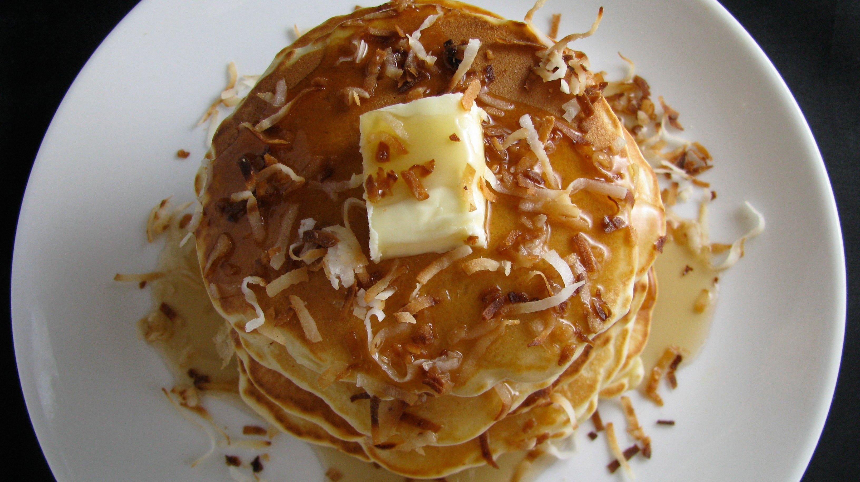 white chocolate coconut pancakes how sweet eats