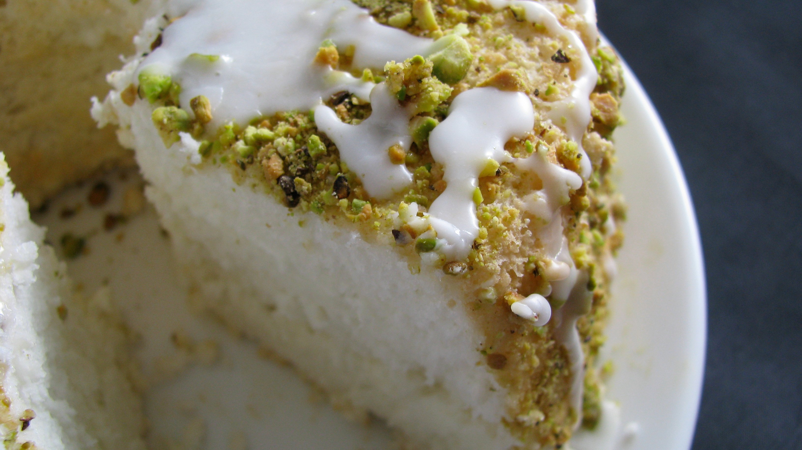 Lime Angel Food Cake with Pistachios and Lime Glaze | How Sweet It Is