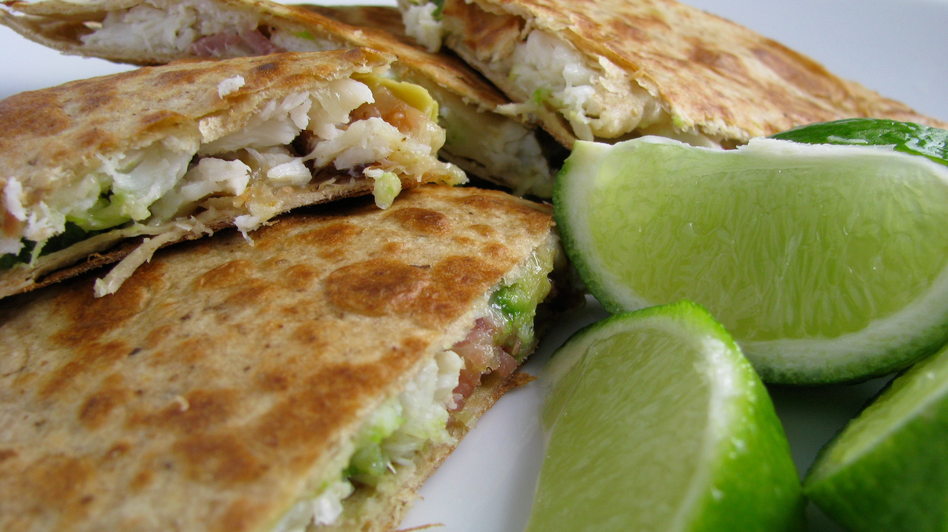 Like everything else, I garnish my quesadillas with limes.