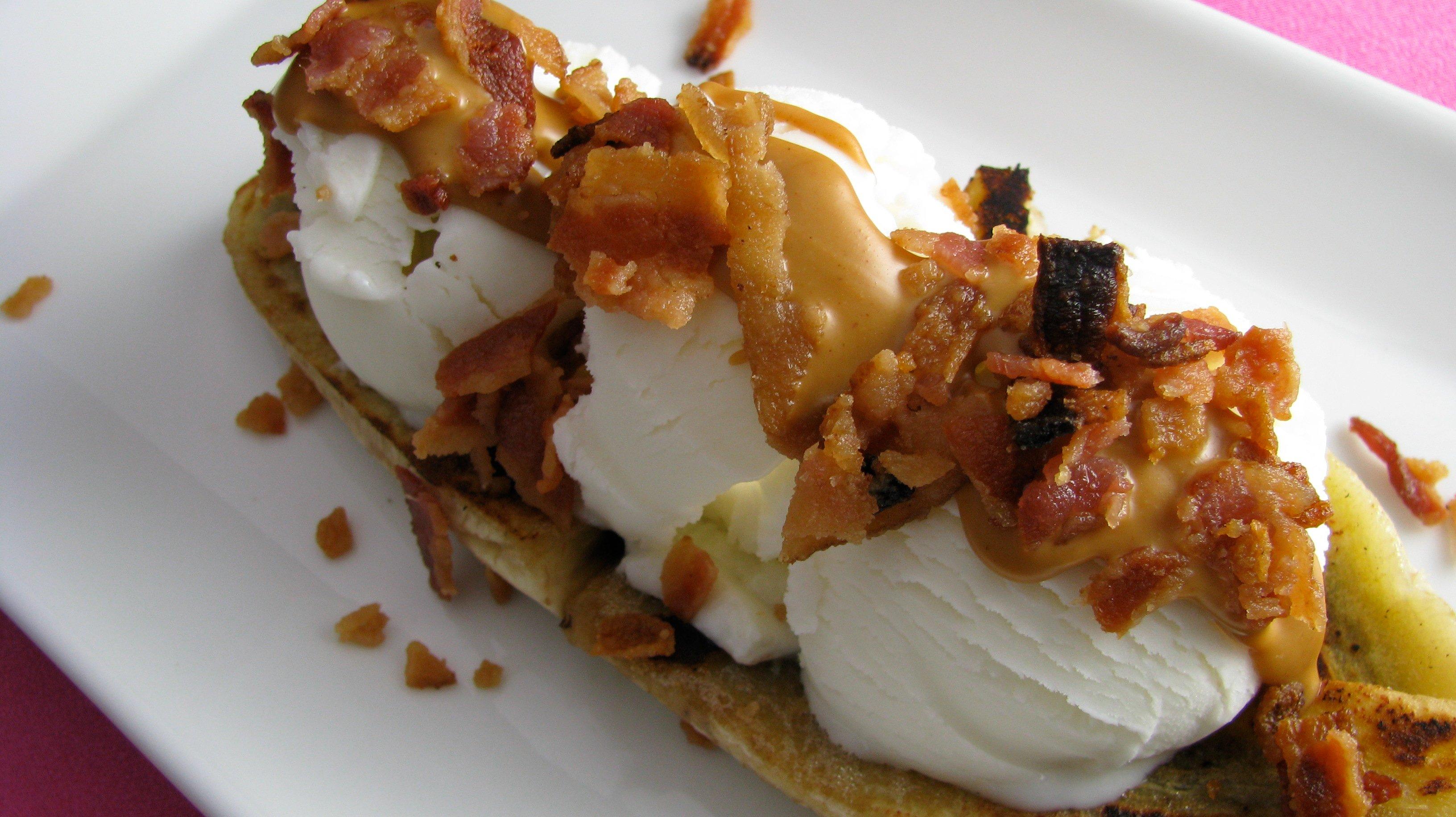 Butterscotch Banana Splits Recipe — Dishmaps
