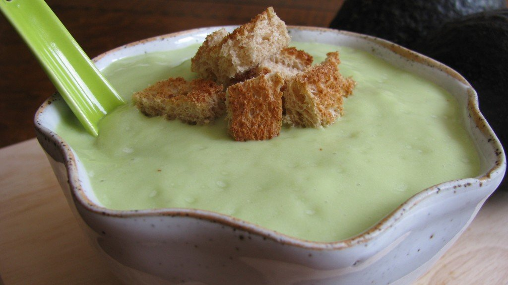 Spicy Avocado Soup with Crunchy Croutons | How Sweet It Is