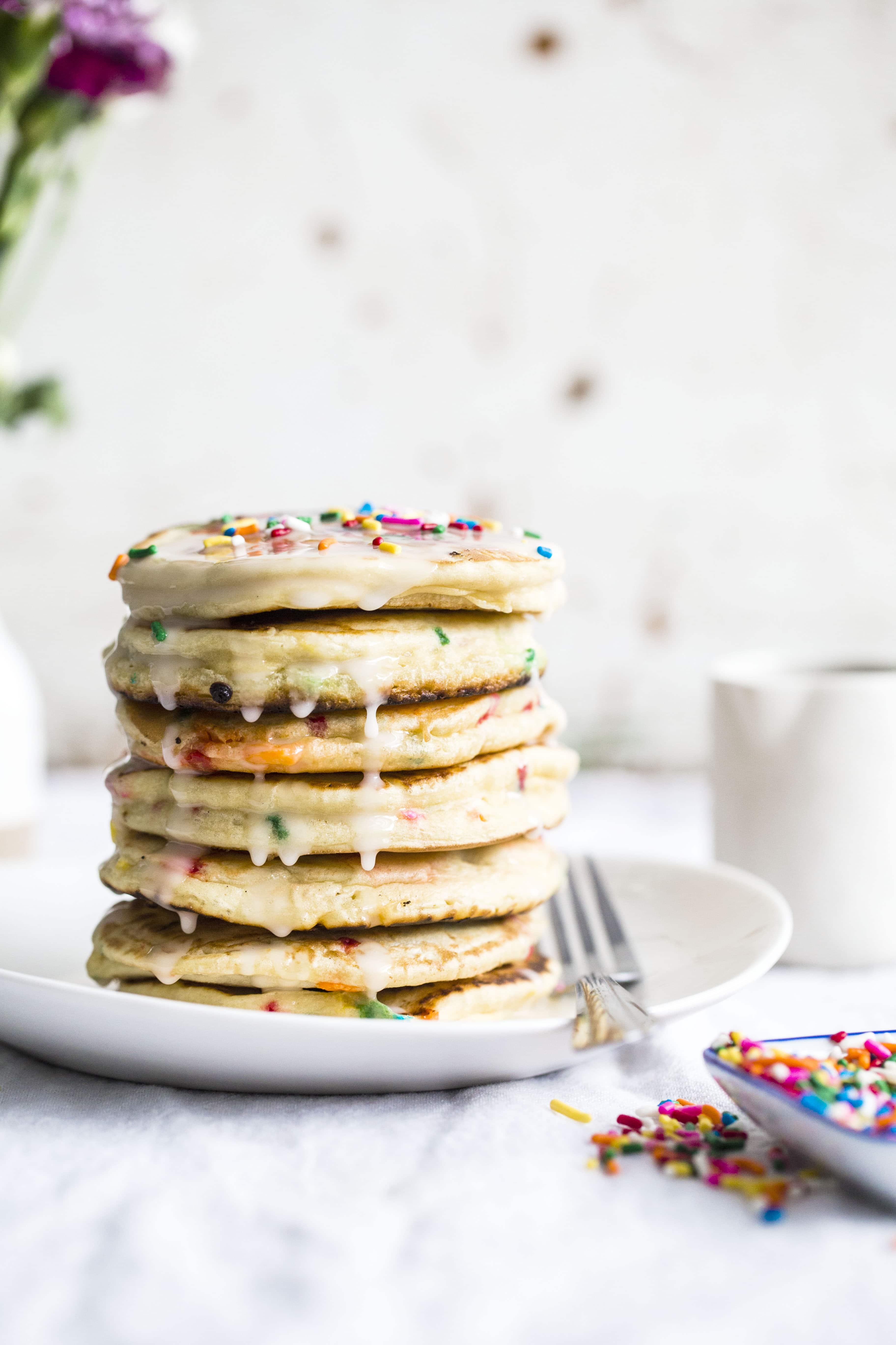 Cake Batter Pancakes I Howsweeteats Cakebatter Breakfast Sprinkles