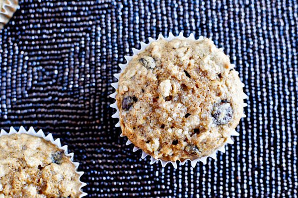 Oatmeal Chocolate Chip Cookie Muffins I howsweeteats.com