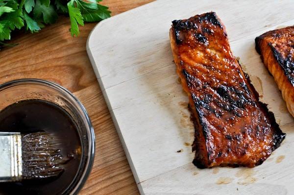 Crispy Bourbon Glazed Salmon I howsweeteats.com