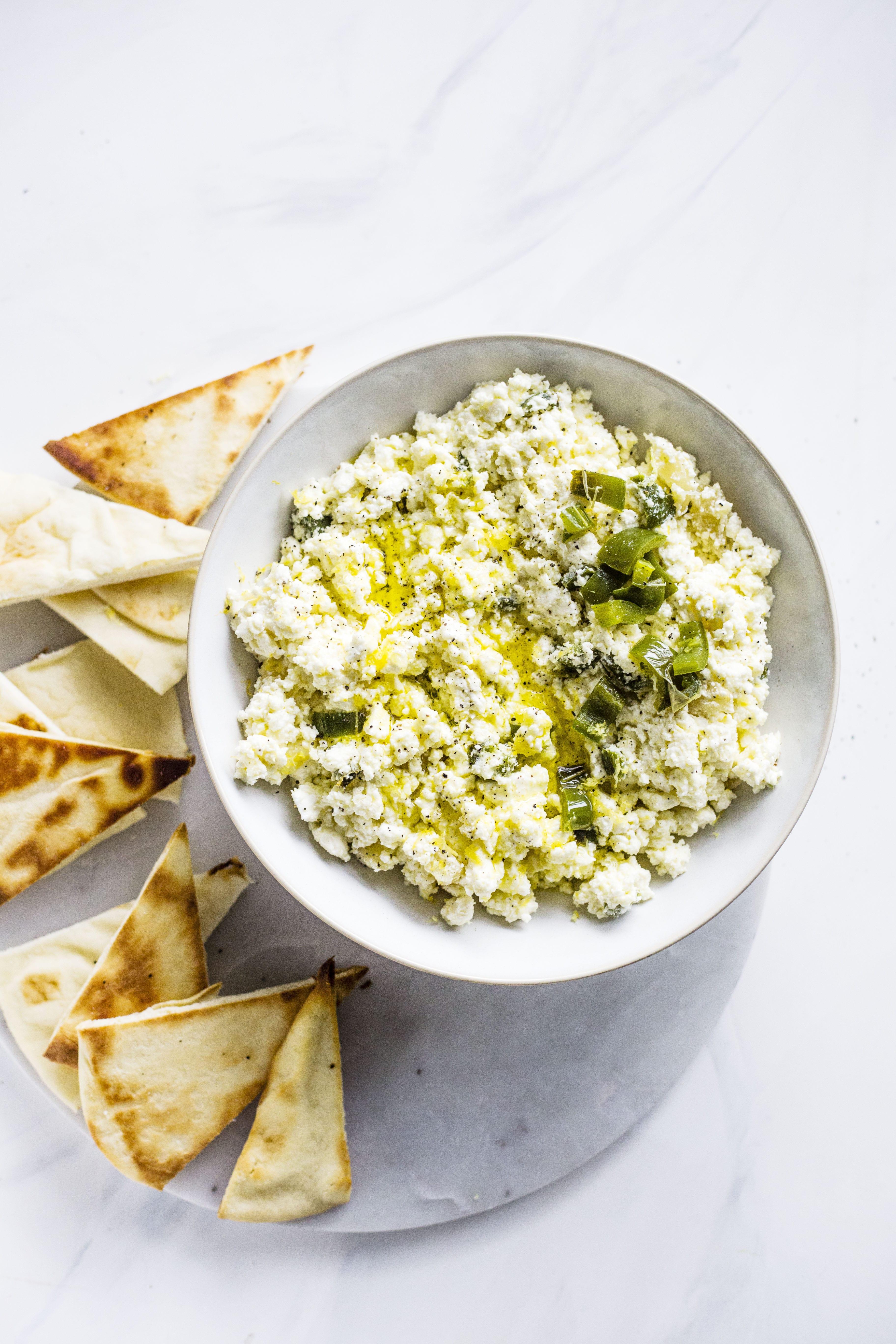 creamy feta dip (aka, crazy feta!) I howsweeteats.com #feta #dip #appetizer #recipes #cheese