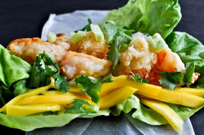 Crispy Shrimp and Mango Spring Rolls I howsweeteats.com