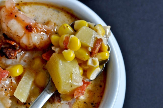 Fresh Corn Chowder with Barbecue Shrimp I howsweeteats.com