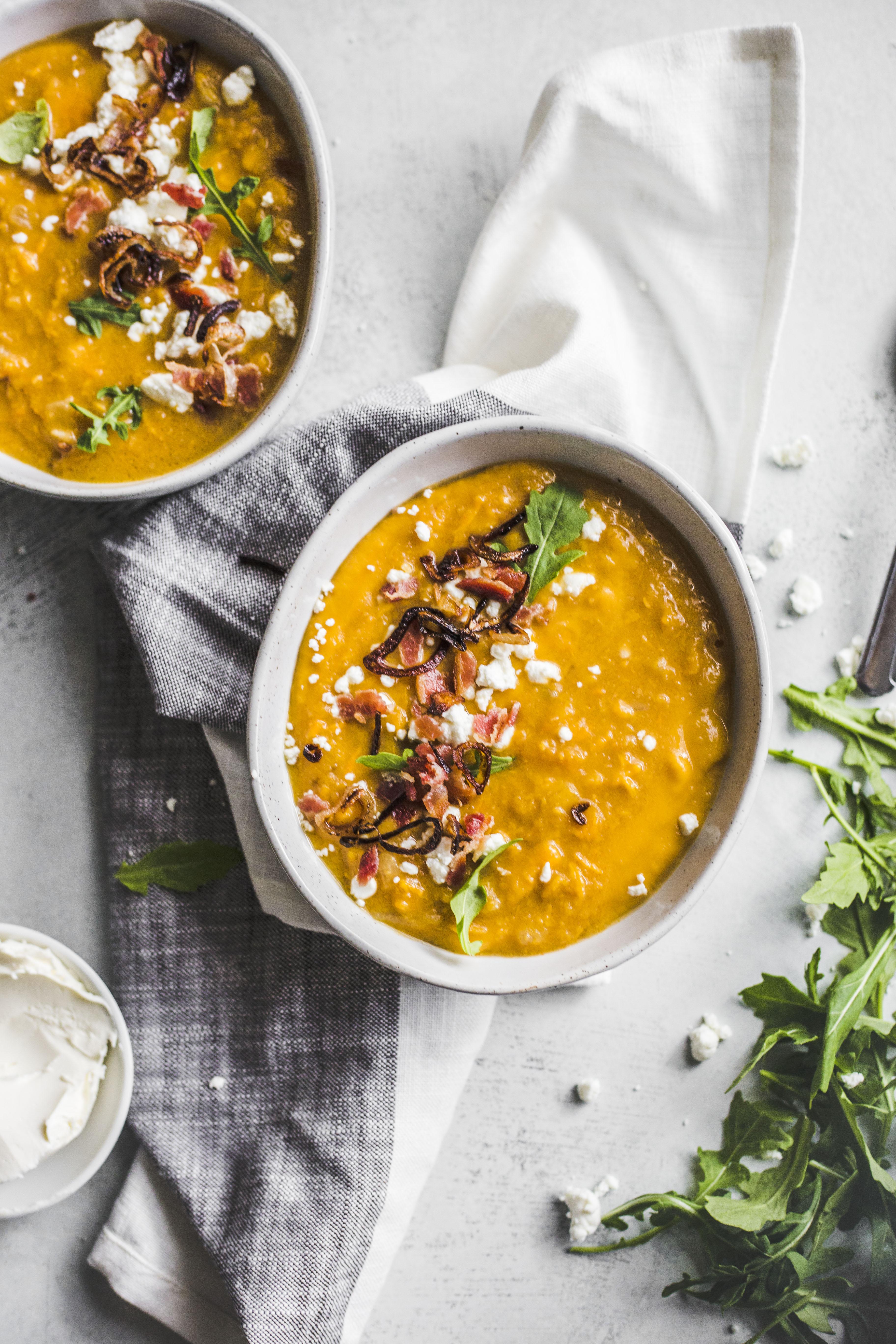 loaded baked sweet potato soup I howsweeteats.com