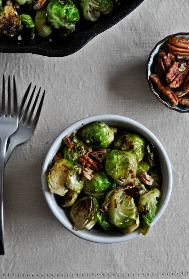 Pan Roasted Brussels Sprouts with Brown Butter and Toasted Pecans I howsweeteats.com