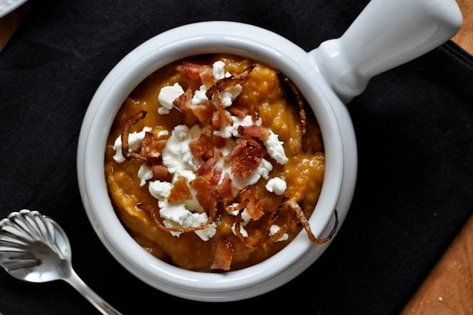 Loaded Baked Sweet Potato Soup I howsweeteats.com