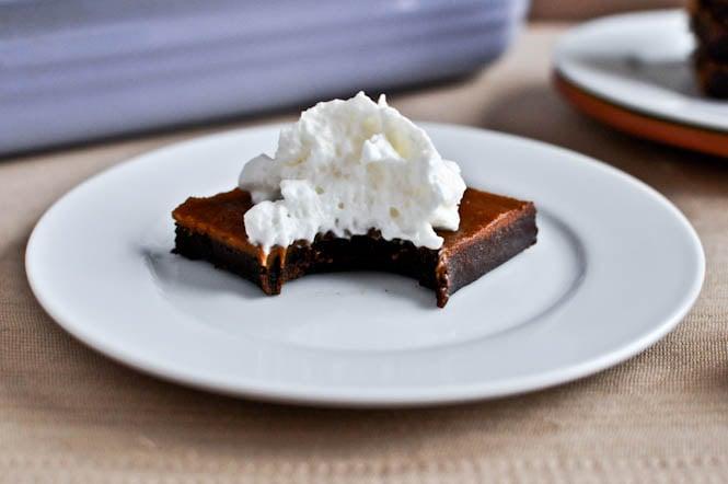 Pumpkin Pie Fudge Brownie Bars I howsweeteats.com