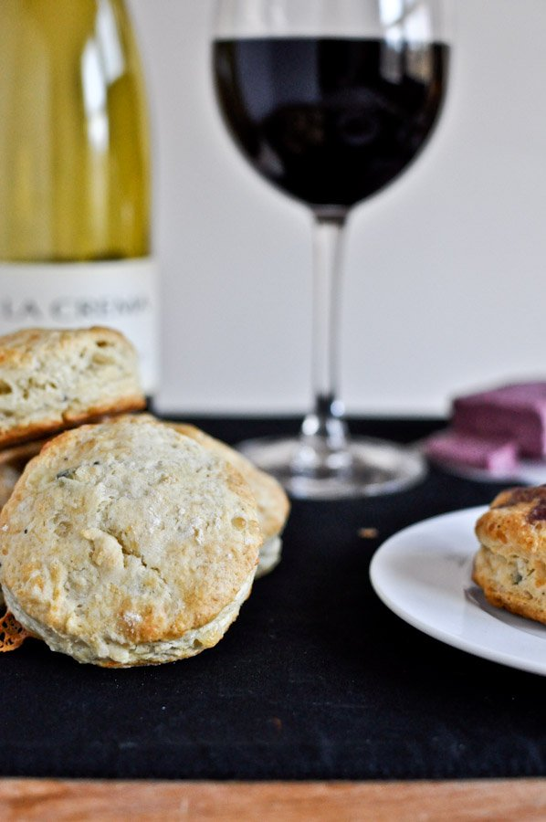 Blue Cheese Biscuits with Pinot Noir Butter I howsweeteats.com