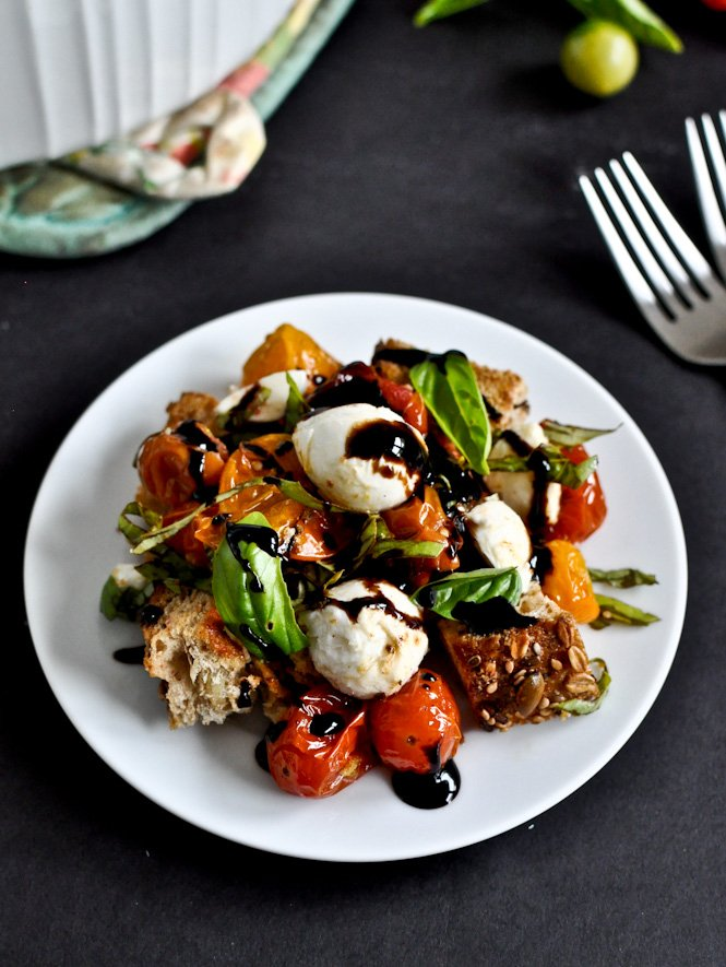 Roasted Tomato Caprese Panzanella Salad | How Sweet It Is