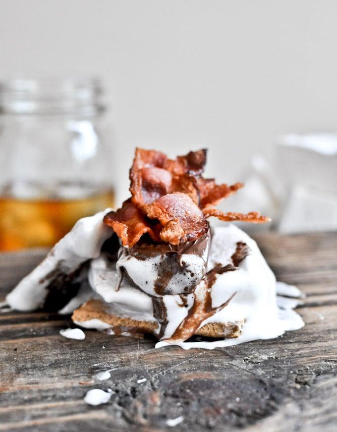 Bourbon Bacon Marshmallow S'mores I howsweeteats.com
