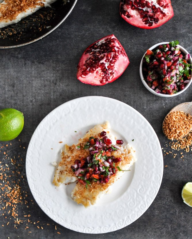 Toasted Coconut Tilapia with Pomegranate Salsa I howsweeteats.com