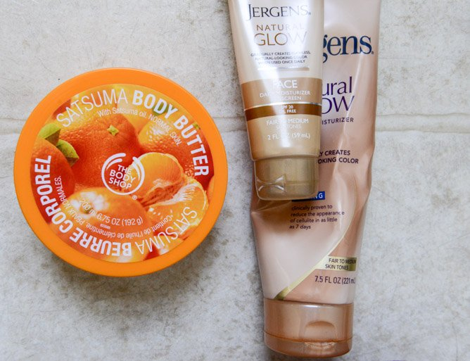 Body Shop Body Butter in Satsuma and Jergens Glow I howsweeteats.com