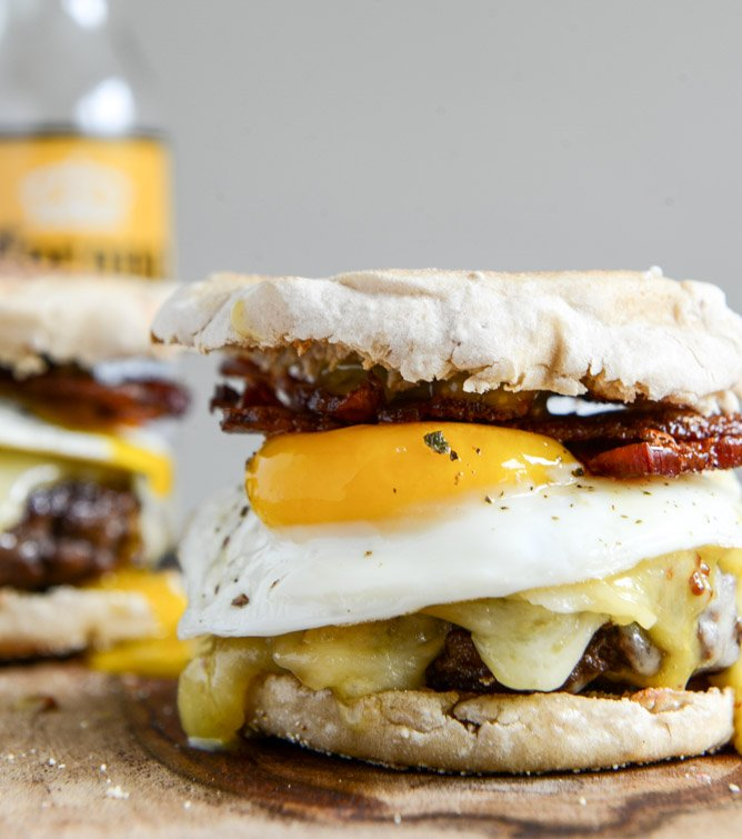 Breakfast Burgers with Maple Aioli I howsweeteats.com