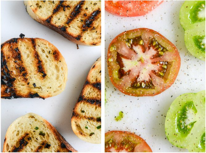 Grilled Sourdough with Buttery Herbs, Heirloom Tomatoes + a Honey Drizzle I howsweeteats.com