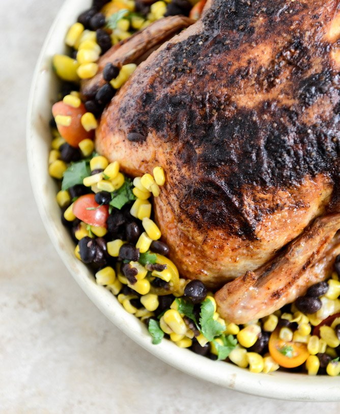Chipotle Lime Butter Whole Roasted Chicken I howsweeteats.com
