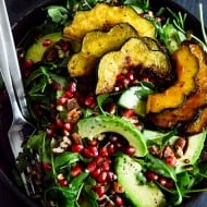 Autumn Arugula Salad with Caramelized Squash, Spiced Pecans and Pomegranate Ginger Vinaigrette-4