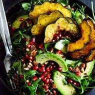 Autumn Arugula Salad with Caramelized Squash, Spiced Pecans and Pomegranate Ginger Vinaigrette-4