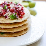 Honey Ginger Chicken Tostadas with Pomegranate Salsa I howsweeteats.com-4