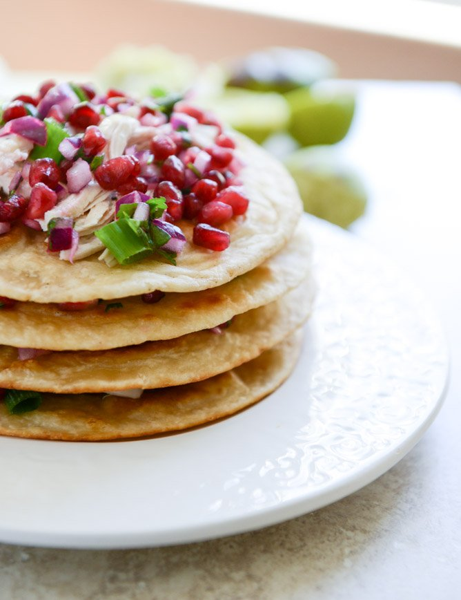 Honey Ginger Chicken Tostadas with Pomegranate Salsa I howsweeteats.com