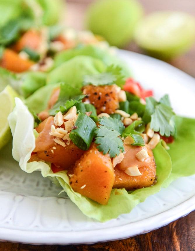 Chili Caramelized Thai Butternut Squash Lettuce Wraps I howsweeteats.com