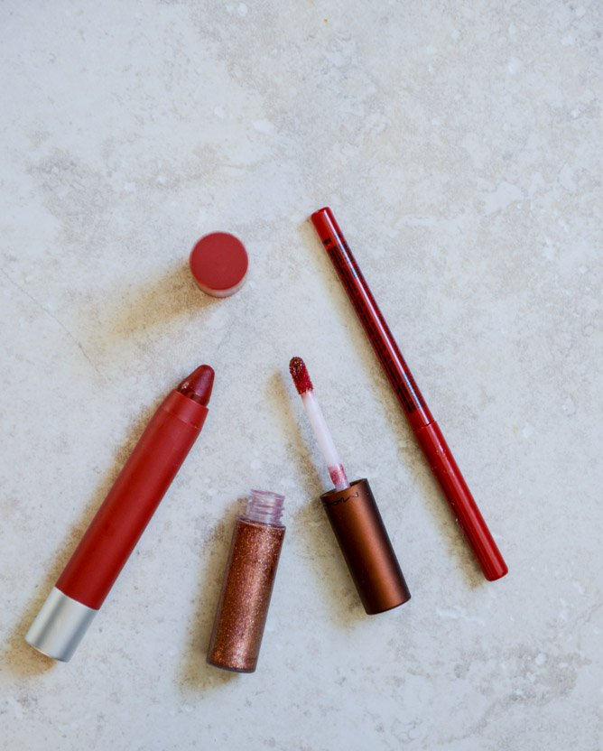 NYX red lip liner, revlon standout matte balm, MAC underdressed lipglass I howsweeteats.com