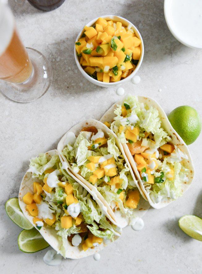 Beer Battered Fish Tacos With Mango Margarita Salsa And Jalapeno Crema