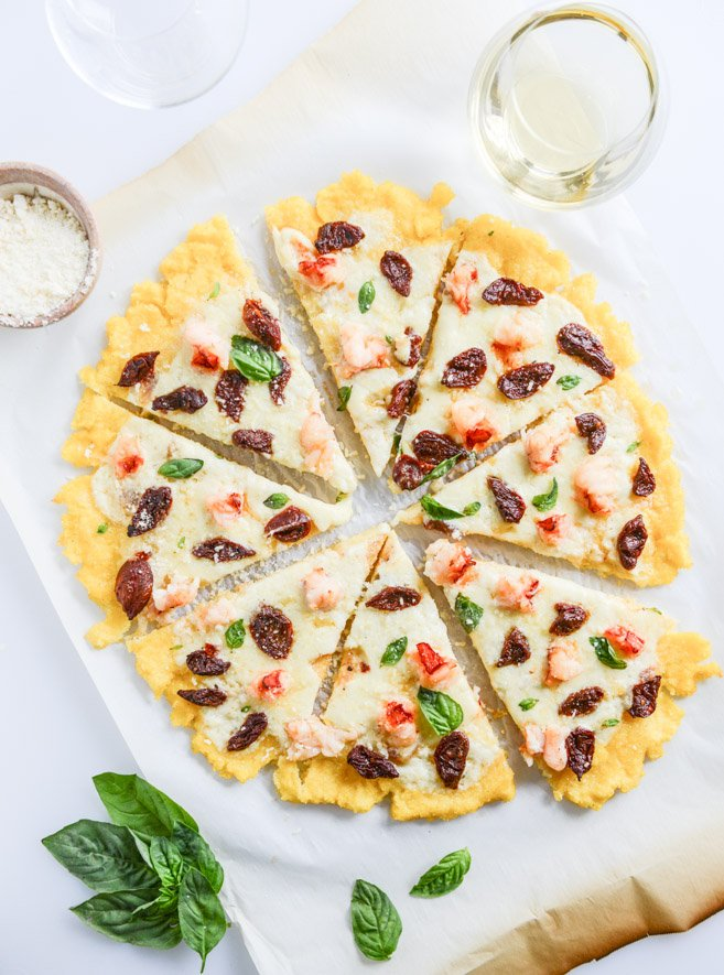 Lobster Polenta Pizza with Sun Dried Cherry Tomatoes I howsweeteats.com