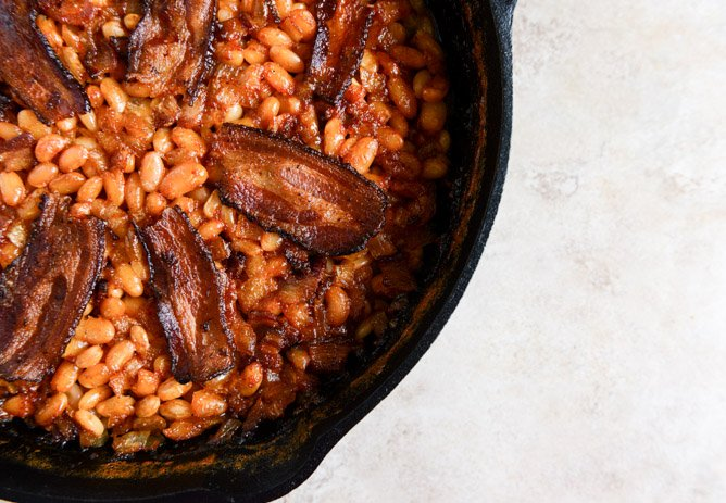 Skillet Baked White Beans. (on toast!) I howsweeteats.com