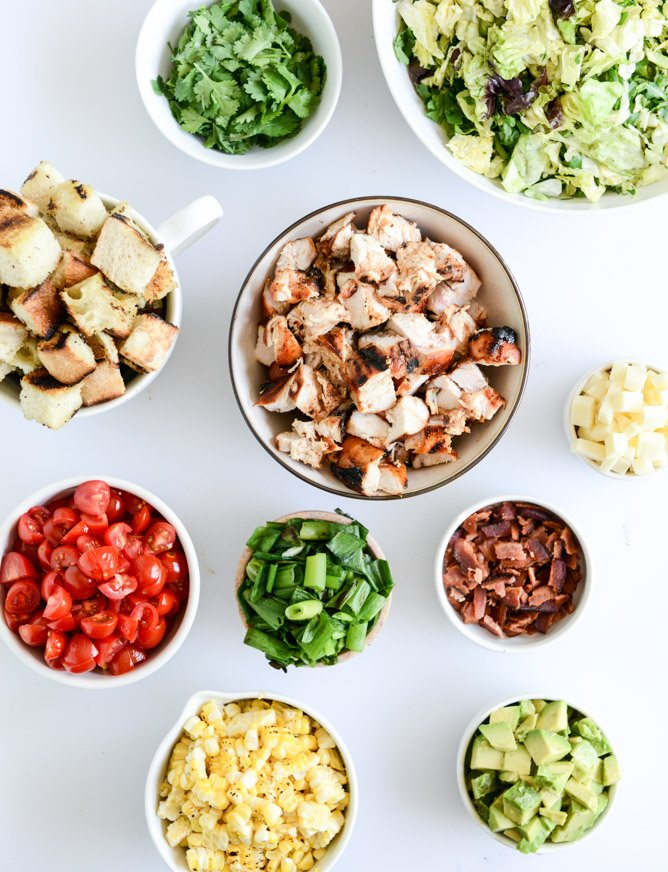 BBQ chicken chopped salad with grilled garlic croutons and honey mustard vinaigrette I howsweeteats.com