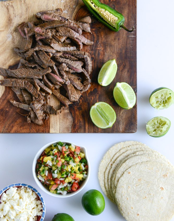 ginger garlic steak tacos with pineapple pico I howsweeteats.com