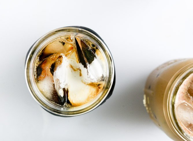 my favorite cold brew coffee with homemade vanilla bean, blackberry, almond and cinnamon-