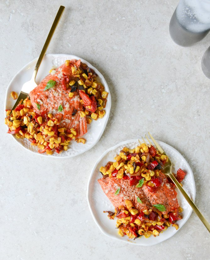 garlic butter salmon with caramelized shallot corn relish I howsweeteats.com