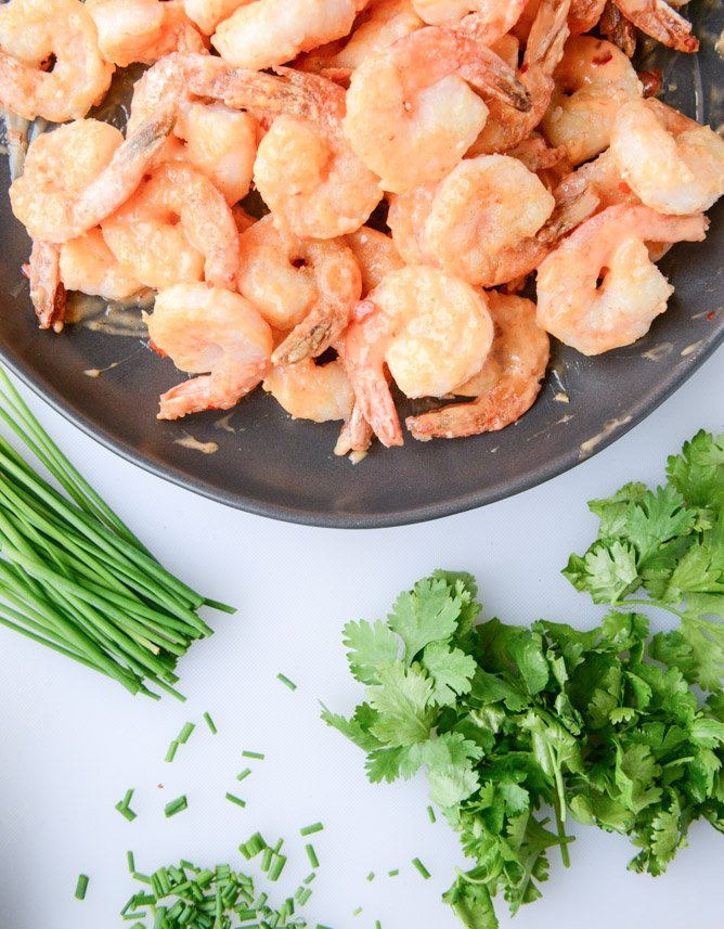 lightened up bang bang shrimp with napa cabbage slaw I howsweeteats.com