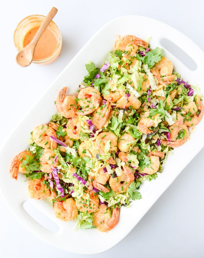 Lightened Up Bang Bang Shrimp With Napa Cabbage Slaw