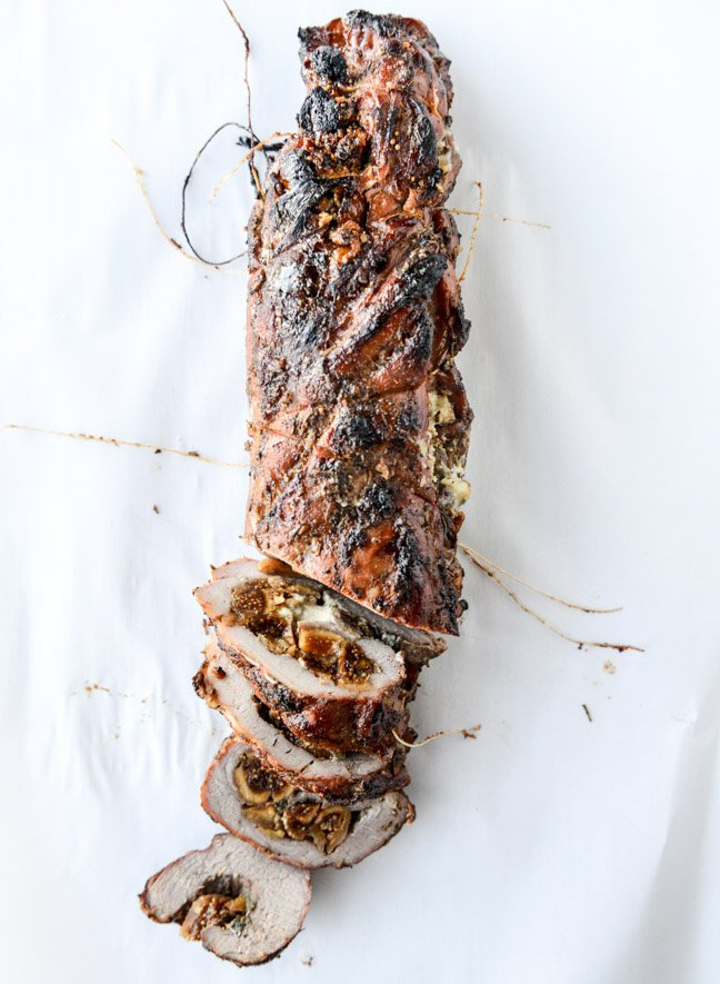brown sugar roasted pork tenderloin (with bourbon figs and gorgonzola!) I howsweeteats.com