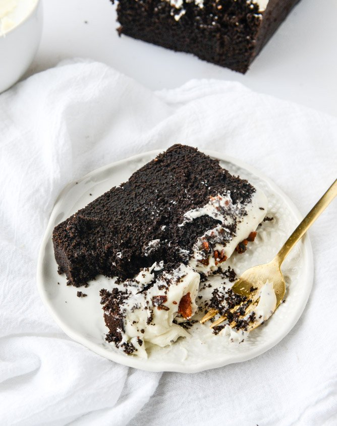 chocolate pound cake with bacon bourbon frosting I howsweeteats.com