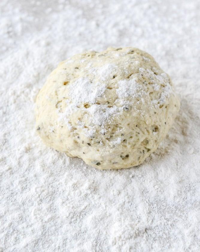 30 Minute Cheesy Artichoke Skillet Flatbread I howsweeteats.com