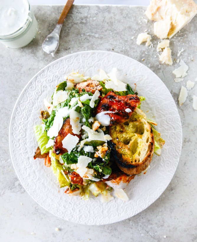 grilled caesar buffalo chicken salad I howsweeteats.com