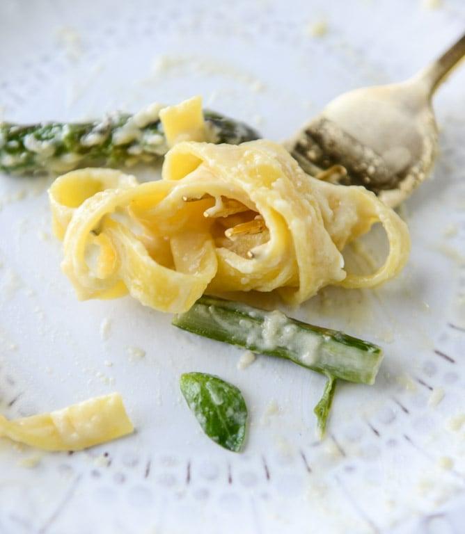 pasta with asparagus and parmesan fonduta I howsweeteats.com