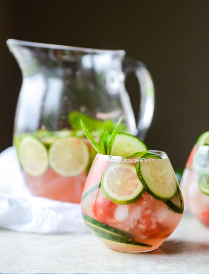 sparkling watermelon cucumber sangria I howsweeteats.com