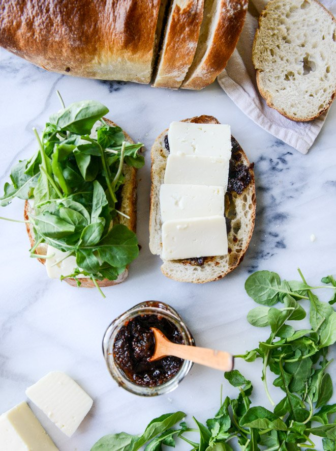 havarti and arugula grilled cheese with bacon jam and triple herb butter I howsweeteats.com