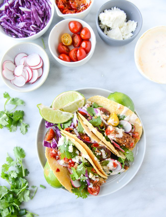 crispy zucchini tacos with cherry pepper crema I howsweeteats.com