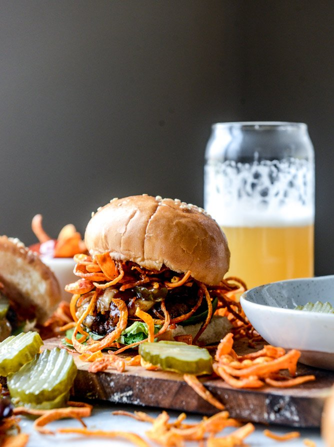 BBQ havarti burgers with sweet potato curly fries I howsweeteats.com
