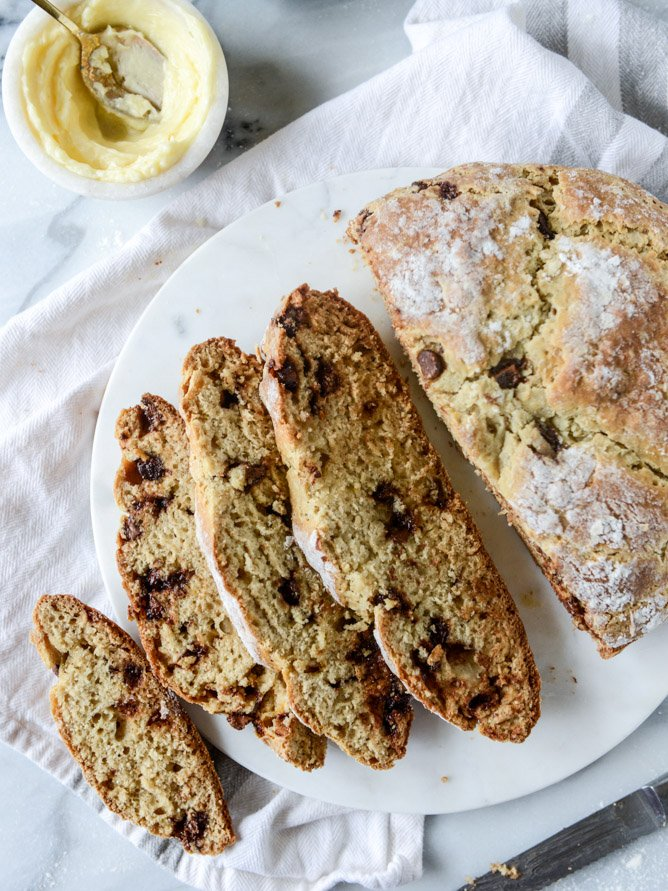 soda bread with milk chocolate and salted honey butter I howsweeteats.com