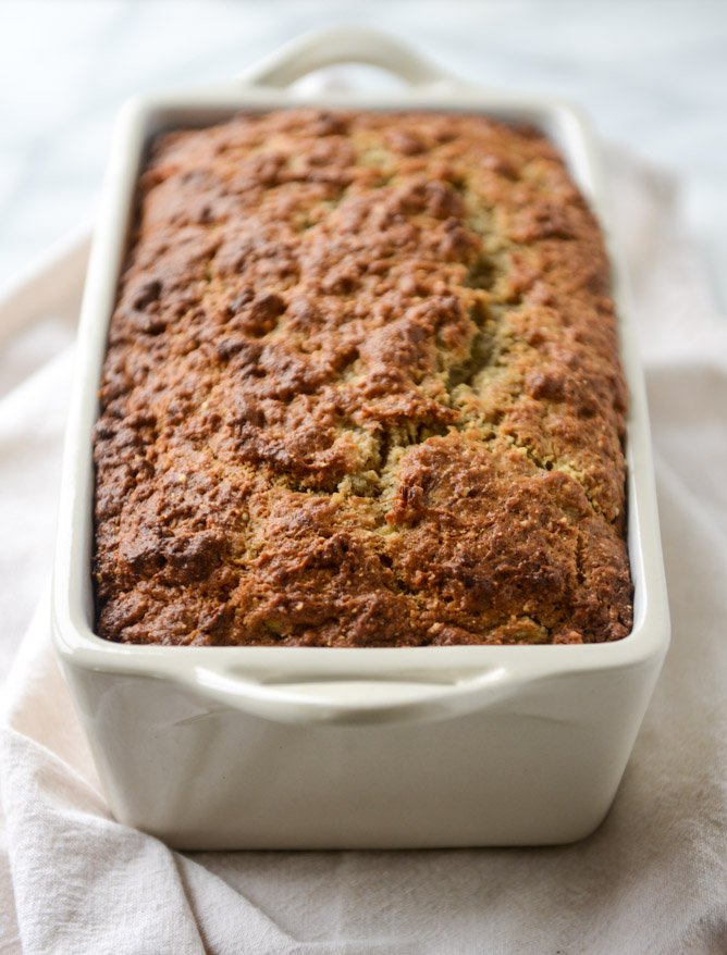 almond butter roasted banana bread I howsweeteats.com