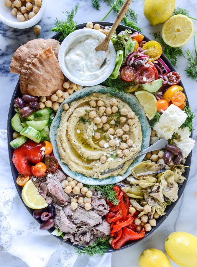 greek marinated flank steak and hummus platter I howsweeteats.com